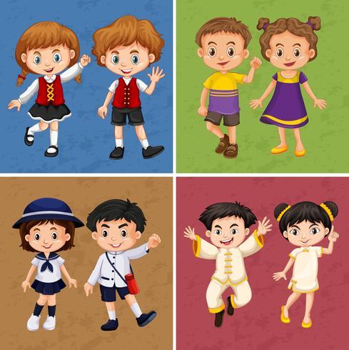 Vier frames van kinderen uit verschillende landen vector