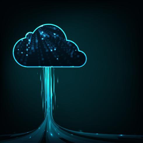 Wolk gegevensverwerkingsconcept. Abstracte de technologieachtergrond van de wolkenverbinding. vector