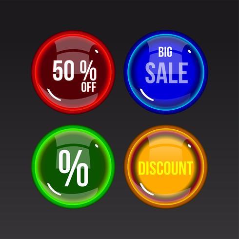 Kleurrijke verkoop glanzende knopen op donkere achtergrond vector