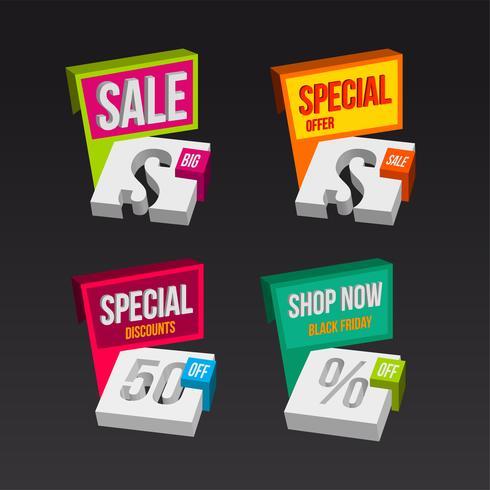 Kleurrijke 3D-verkoop badges concepten vector