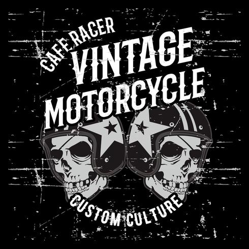 vintage grunge stijl schedel dragen helm hand tekening vector