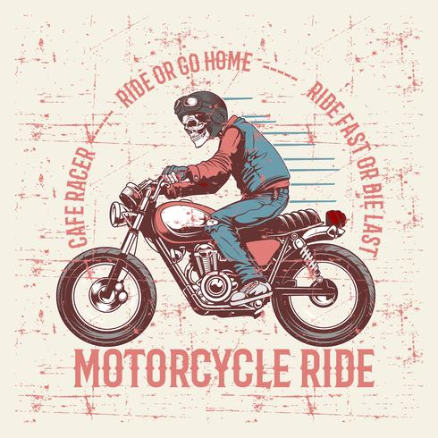 Vintage grunge stijl schedel helm en tekst café racer hand tekening vector dragen