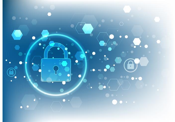 Cybersecurityconcept. Schild met Sleutelgatpictogram op digitale gegevensachtergrond. vector