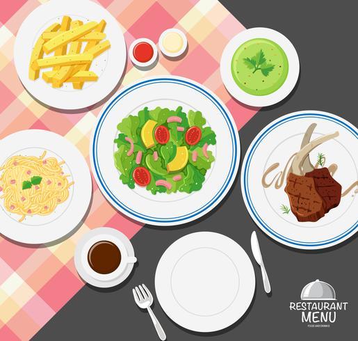 Verschillende soorten voedsel op eettafel vector