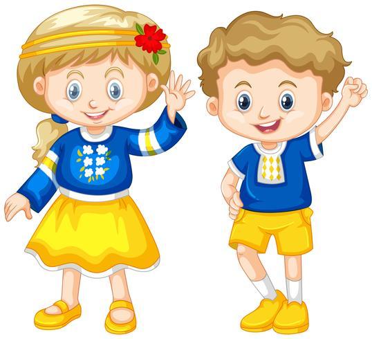 Jongen en meisje uit Oekraïne vector
