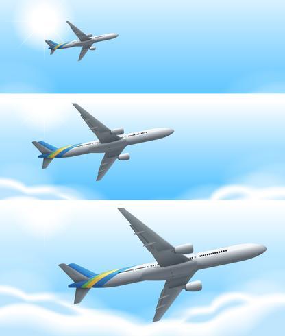 Drie scènes van vliegtuig vliegen in de lucht vector