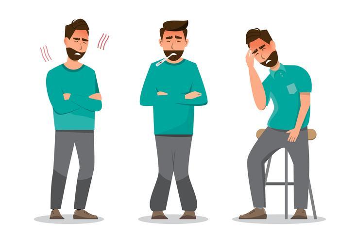 Set van zieke mensen zich onwel voelen, met verkoudheid, hoofdpijn en koorts vector