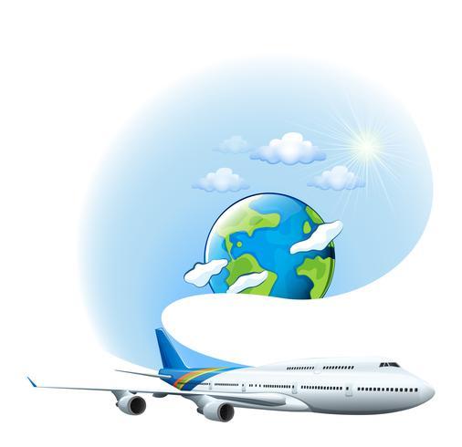 Een vliegtuig en een wereldbol vector