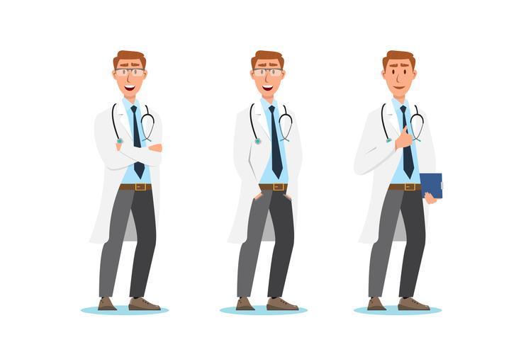Set van cartoon stripfiguren. Medisch personeel team concept vector