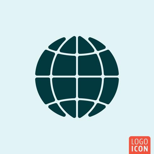 Wereldbol icoon. Minimaal ontwerp van het aardsymbool vector