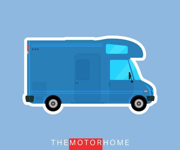 Recreatief camper voertuig, camper, caravanbus vector