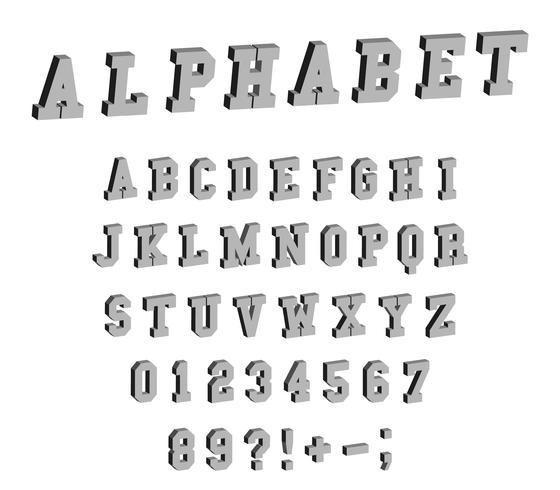 Isometrisch lettertype alfabet vector