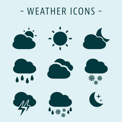 Stel weerpictogrammen in vector