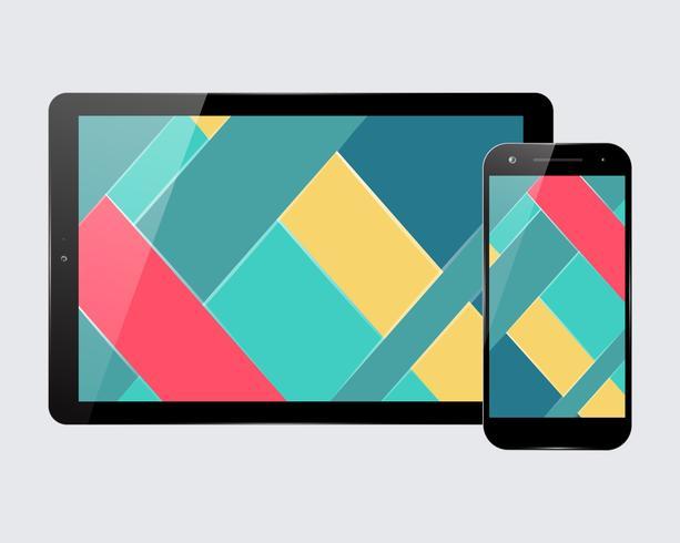 Tablet-smartphone ingesteld vector