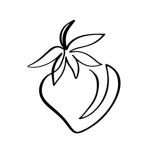 Aardbei hand getrokken schets doodle pictogram. Vectorschets Logo illustratie van gezonde bes - verse rauwe aardbei voor print, web, mobiel en infographics geïsoleerd op een witte achtergrond vector