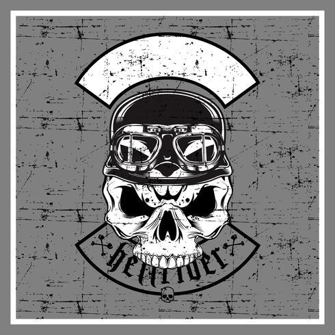 grunge stijl schedel draagt retro helm-vector vector