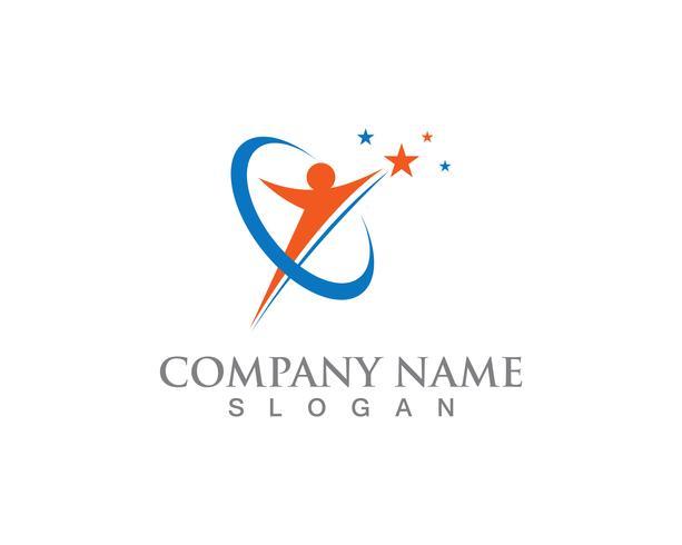 Stermensen Logo Success Template het vectorontwerp van de pictogramillustratie vector