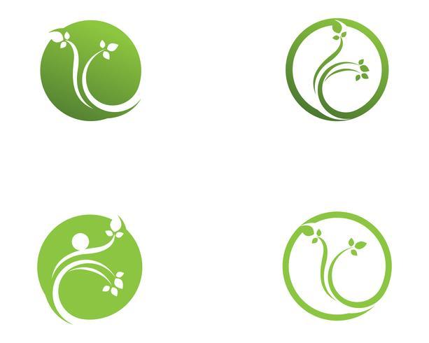 groene blad ecologie natuurelement vector pictogram ...