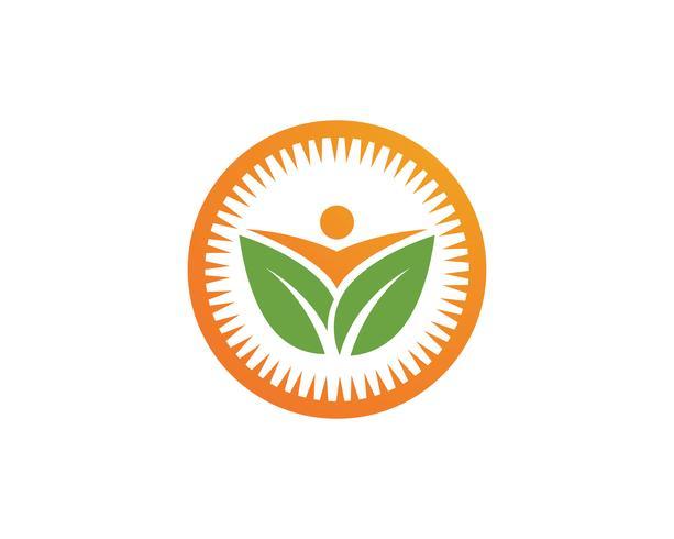 Blad groene mensen identiteitskaart vector logo sjabloon