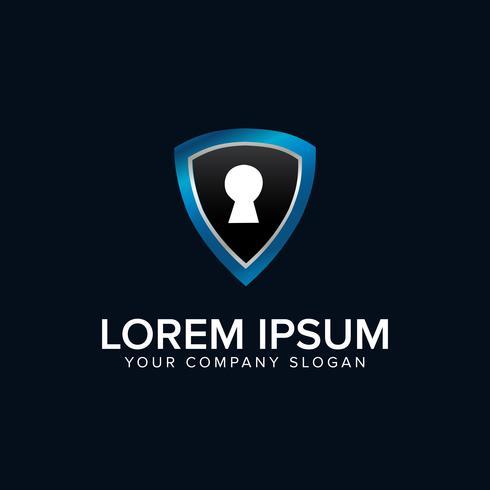 Beveiligingslogo met sleutelgat logo ontwerpsjabloon concept vector