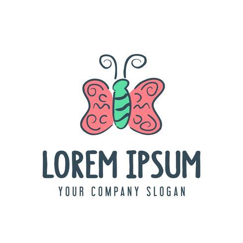 vlinder logo. hand getrokken stijl ontwerpsjabloon concept vector