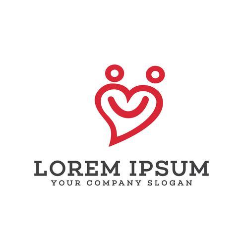 mensen houden van logo. glimlach logo ontwerpsjabloon van het concept vector