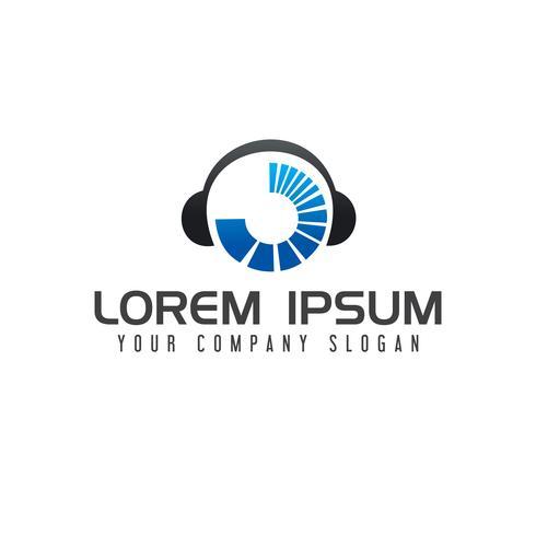 Muziek entertainment logo. Hoofdtelefoons logo ontwerp concept templat vector