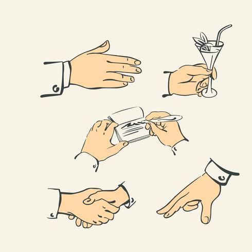 Hand vinger collectie - retro stijl illustratie vector