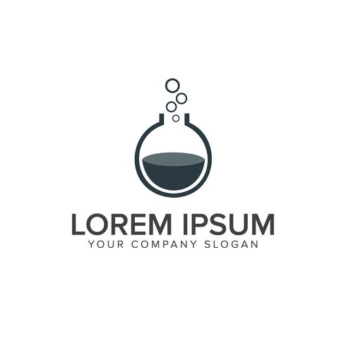 Lab-logo. flesje glas logo ontwerpsjabloon concept vector