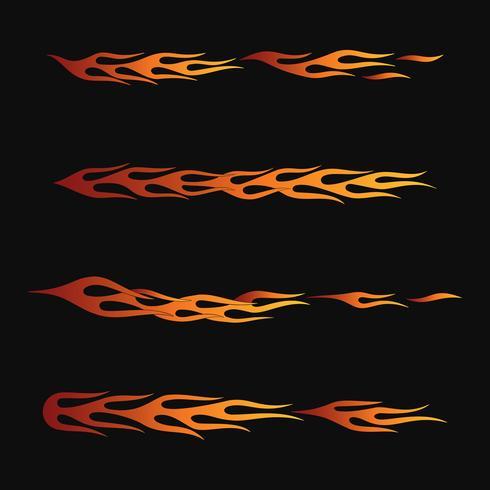 vuurvlammen in tribale stijl voor tattoo, voertuig en t-shirt decoratie ontwerp. Voertuiggraphics, Stripe, Vinyl Ready-verzamelset vector