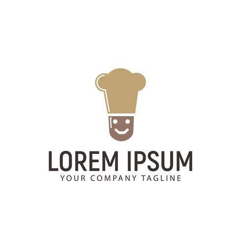 eenvoudige glimlach Chef-kok logo ontwerpsjabloon concept vector