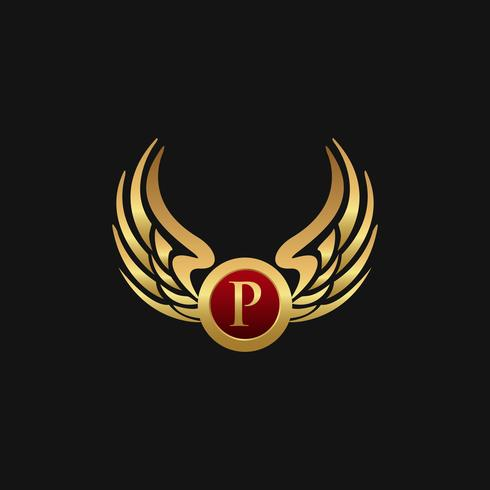 Luxe letter P embleem vleugels logo ontwerpsjabloon concept vector