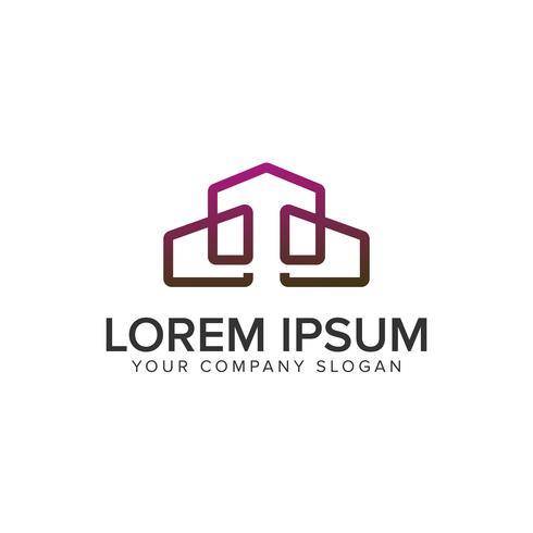 Onroerend goed logo. lijn moderne ontwerpsjabloon concept vector