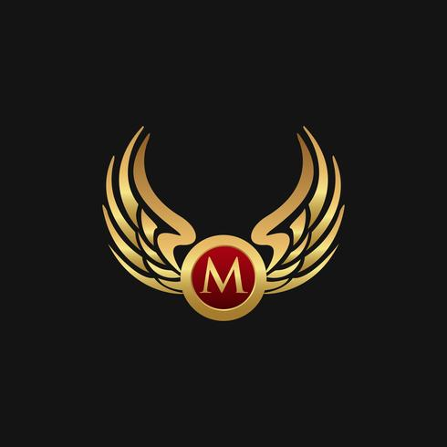 Luxe letter M embleem vleugels logo ontwerpsjabloon concept vector