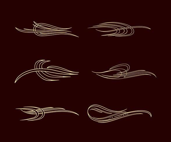 pinstriping streep amerika stijl collectie set vector