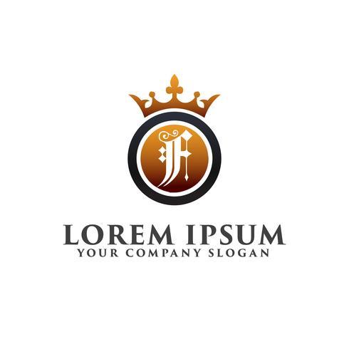 Luxe Letter F met kroon Logo ontwerpsjabloon concept vector
