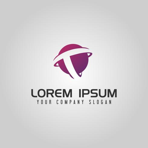 Letter T globl-logo. technologie zakelijke ontwerpsjabloon van het concept vector