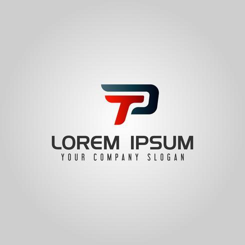 Modern Letter TP-logo. snelheid ontwerpsjabloon concept vector