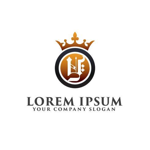 Luxe Letter Y met kroon Logo ontwerpsjabloon concept vector