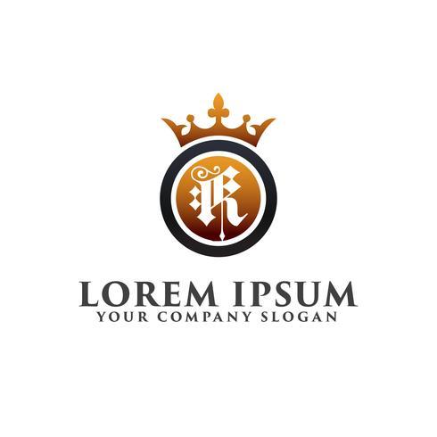 Luxe Letter K met kroon Logo ontwerpsjabloon concept vector