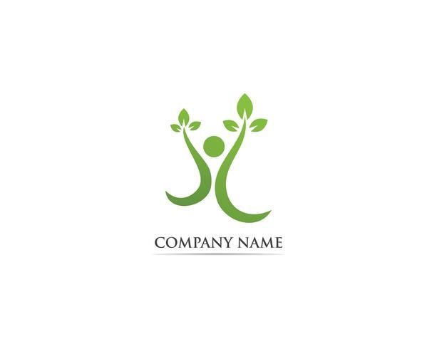 Blad groene mensen identiteitskaart vector logo