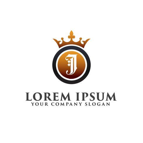 Luxe Letter J met kroon Logo ontwerpsjabloon concept vector
