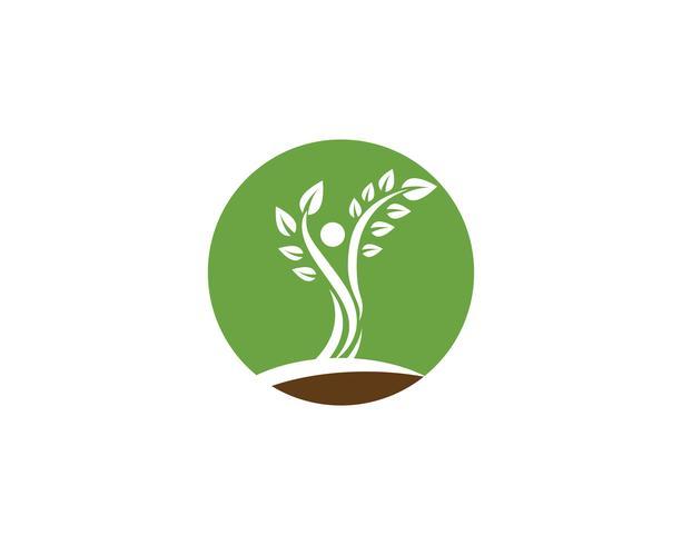 Boom groene mensen identiteit vector logo sjabloon