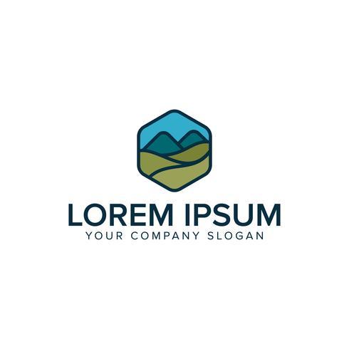 moderne berg weide logo ontwerpsjabloon concept vector