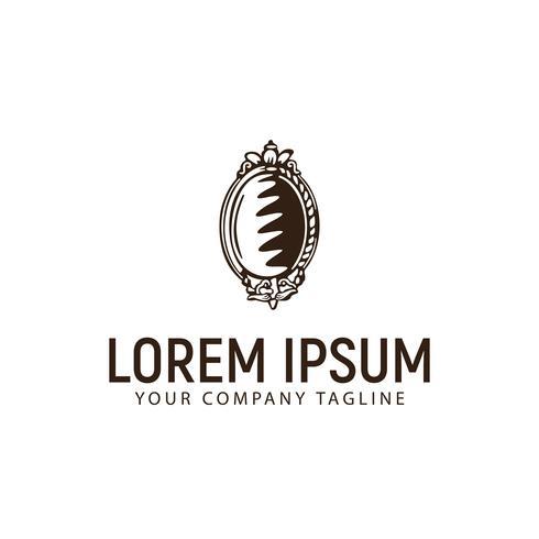 spiegel hand getekend vintage logo ontwerpsjabloon concept vector