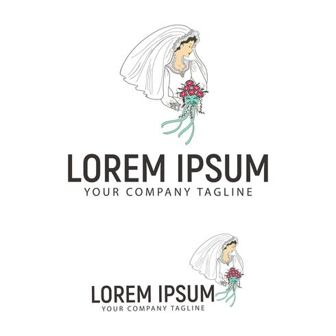 bruid met bloem logo ontwerpsjabloon concept vector