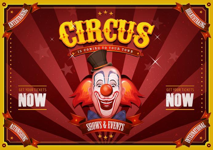 Vintage circusaffiche met clown hoofd vector