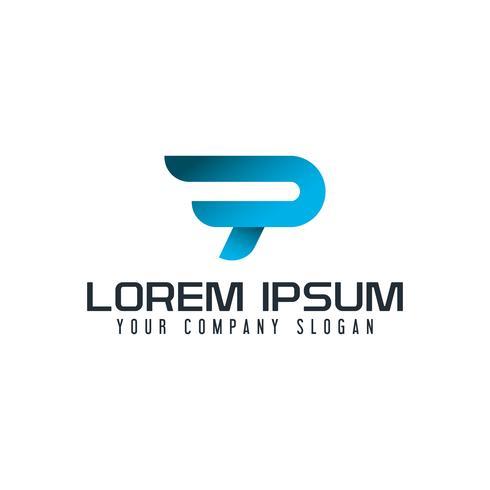 modern letter P-logo. snelle snelheid conceptontwerpsjabloon vector