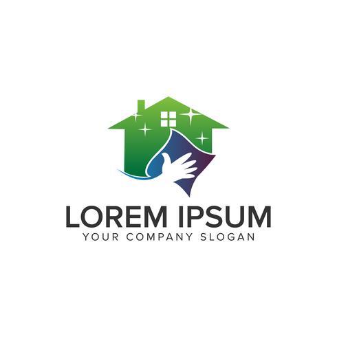 schoon huis logo ontwerpsjabloon concept. volledig bewerkbare vector