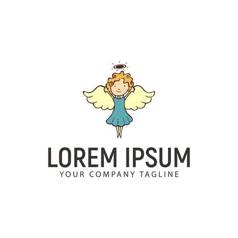 kleine engel logo ontwerpsjabloon concept vector